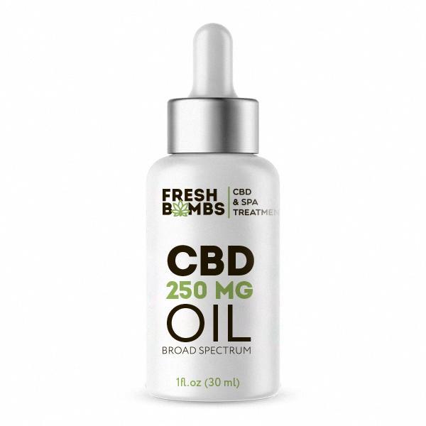 bottle of CBD hemp oil by Fresh Bombs on white background