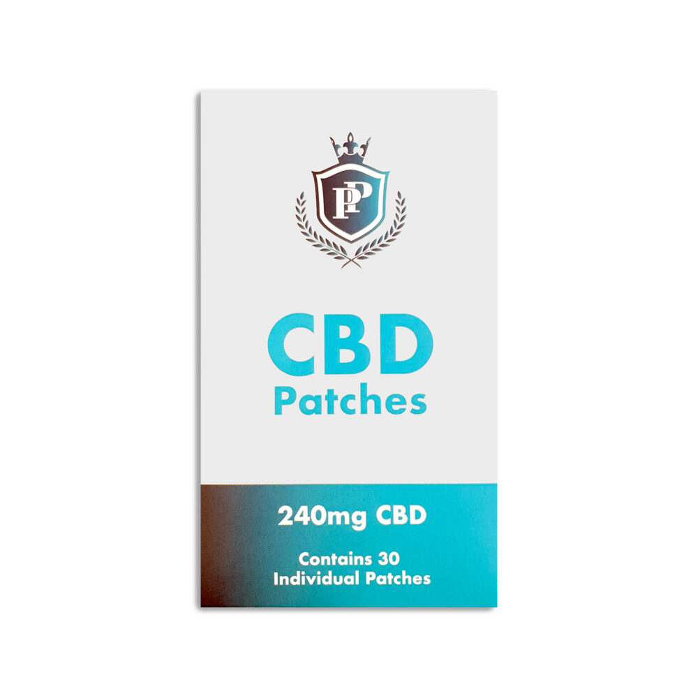 Packet of transdermal CBD patches on white background