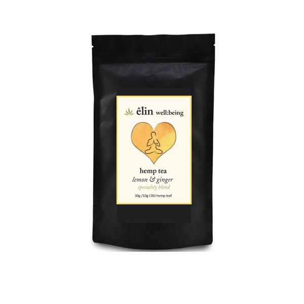 elin wellbeing cbd hemp tea lemon ginger