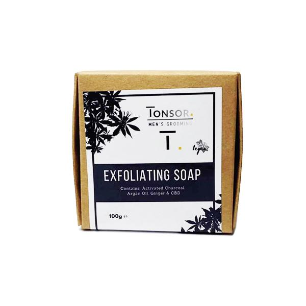 bar of exfoliating CBD soap by Tonsor