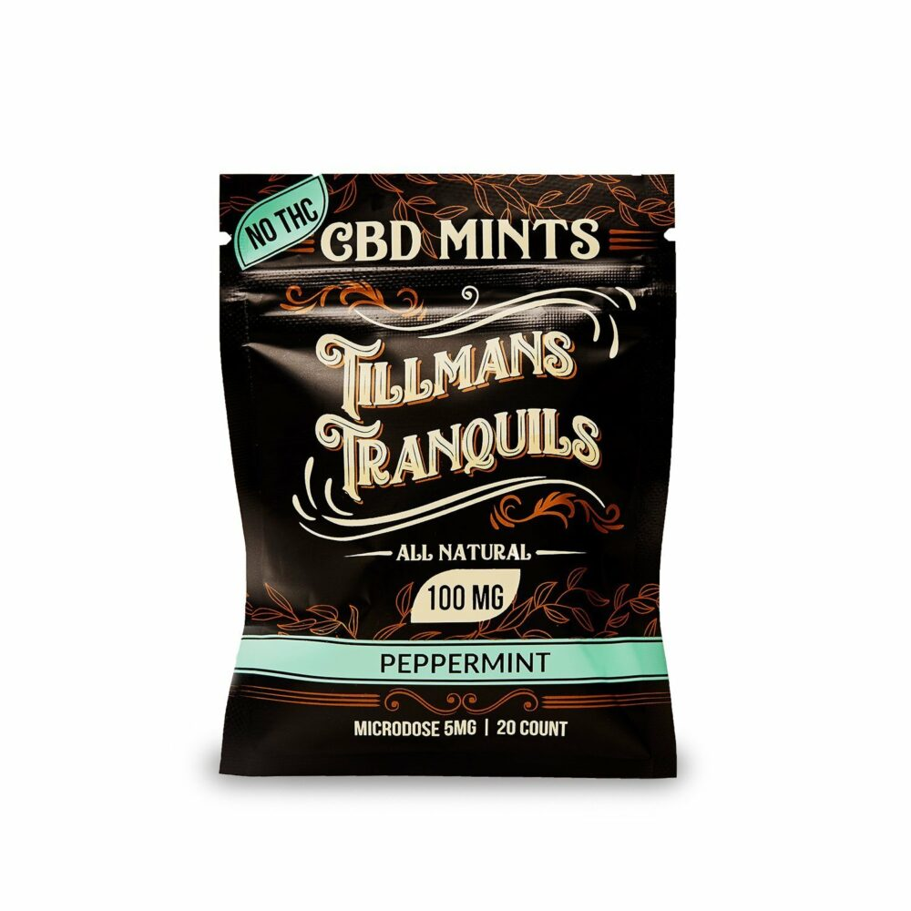 Packet of CBD edibles, CBD mints on white background